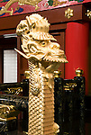 Photo shows  one of the golden dragons that marshals the King's throne in the Usasuka room inside the main Seiden hall of Shuri-jo Castle in Naha, Okinawa Prefecture, Japan, on June 24, 2012. Seiden functioned as the central structure of the Ryukyu kingdom for over 500 years and was restored in 1992. Photographer: Robert Gilhooly
