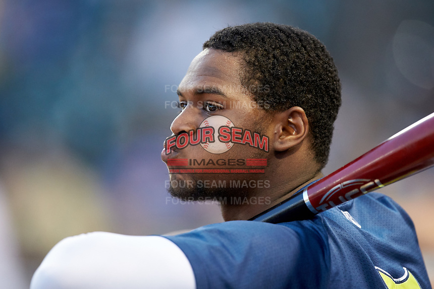 Shervyen Newton (3) of the Columbia Fireflies watches the action from the dugout during the game against the Rome Braves at Segra Park on May 13, 2019 in Columbia, South Carolina. The Fireflies defeated the Braves 6-1 in game two of a doubleheader. (Brian Westerholt/Four Seam Images)