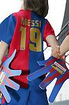 Two young mascots hold hands, Barcelona v Osasuna (0-1), La Liga, Nou Camp, Barcelona, 23rd May 2009.