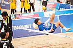 CHOI Munjung of Korea Republic plays a shot against Malaysia the Beach Sepaktakraw Men's team competition on Day Eight of the 5th Asian Beach Games 2016 at My Khe Beach on 01 October 2016, in Danang, Vietnam. Photo by Marcio Machado / Power Sport Images