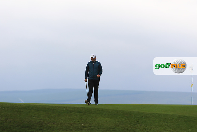Colm Campbell Jnr (Warrenpoint) on the 17th green during Round 2 of the North of Ireland Amateur Open Championship 2019 at Portstewart Golf Club, Portstewart, Co. Antrim on Tuesday 9th July 2019.<br /> Picture:  Thos Caffrey / Golffile<br /> <br /> All photos usage must carry mandatory copyright credit (© Golffile | Thos Caffrey)