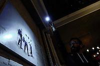 Colombian artist Roberto Montoya exhibits part of the Hi-Fi series paintings, during the 3rd edition of Astoria Art Festival in New York. 10,18,2014. Photo by Eduardo Munoz Alvarez / VIEWpress