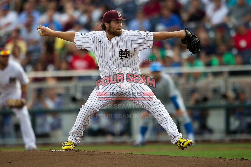 Mississippi State pitcher Trevor Fitts (31) delivers a pitch to the plate during Game 1 of the 2013 Men's College World Series Finals against the UCLA Bruins on June 24, 2013 at TD Ameritrade Park in Omaha, Nebraska. The Bruins defeated the Bulldogs 3-1, taking a 1-0 lead in the best of 3 series. (Andrew Woolley/Four Seam Images)