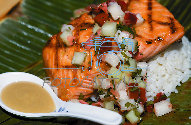 Cathleen Allison/Nevada Appeal.Brian Shaw's grilled salmon with miso mustard and pickled ginger salsa.