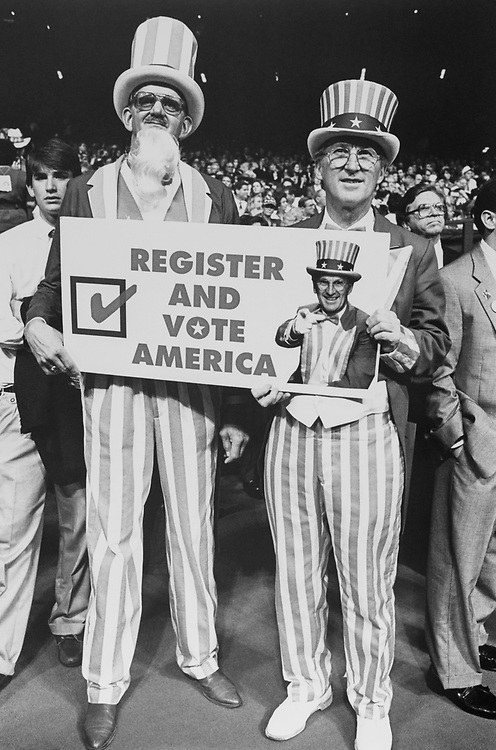 Bill Barnekow from Colorado and Uncle Sam from Massachusetts at Republican National Convention. His full time job is to get people to vote, in August 1992. (Photo by Laura Patterson/CQ Roll Call via Getty Images)