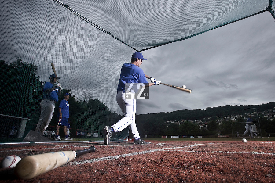 14 July 2010: Boris Marche of Team France is seen in the batting cage during day 2 of the Open de Rouen, an international tournament with Team France, Team Saint Martin, Team All Star Elite, at Stade Pierre Rolland, in Rouen, France.