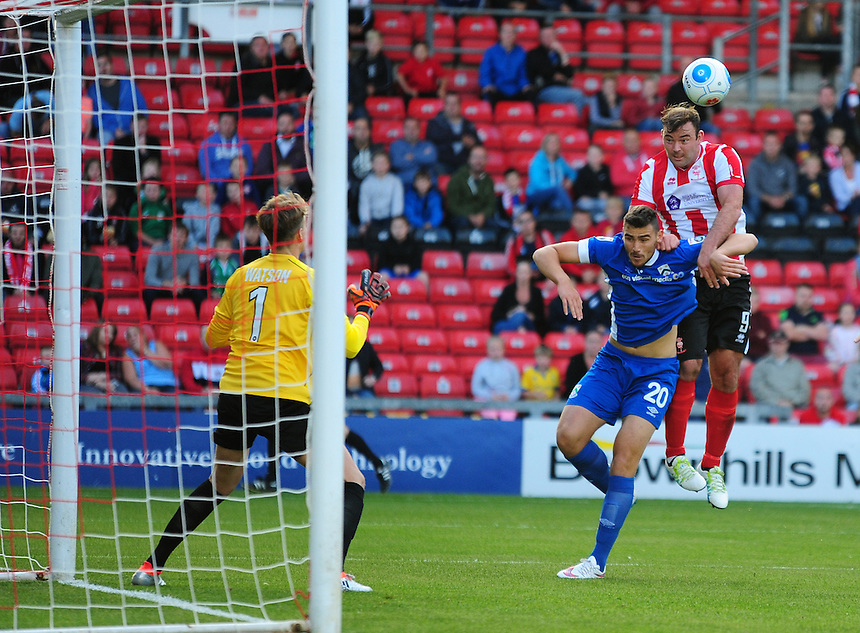 Lincoln City's Matt Rhead scores his sides first goal  <br /> <br /> Photographer Andrew Vaughan/CameraSport<br /> <br /> Football - Vanarama National League - Lincoln City v North Ferriby United - Tuesday 9th August 2016 - Sincil Bank - Lincoln<br /> <br /> &copy; CameraSport - 43 Linden Ave. Countesthorpe. Leicester. England. LE8 5PG - Tel: +44 (0) 116 277 4147 - admin@camerasport.com - www.camerasport.com