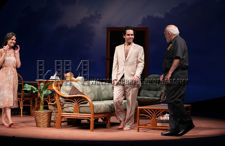 Kate Arrington, Paul Rudd and Ed Asner during the Opening Night Performance Curtain Call for 'Grace' at the Cort Theatre in New York City on 10/4/2012.