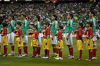 Mexico team during national anthem. USA and Mexico tied, 2-2, in an international friendly at Reliant Stadium, Houston, Texas on February 6, 2008.