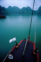 View from high up the mast on a traditional junk early morning, Halong Bay, Vietnam