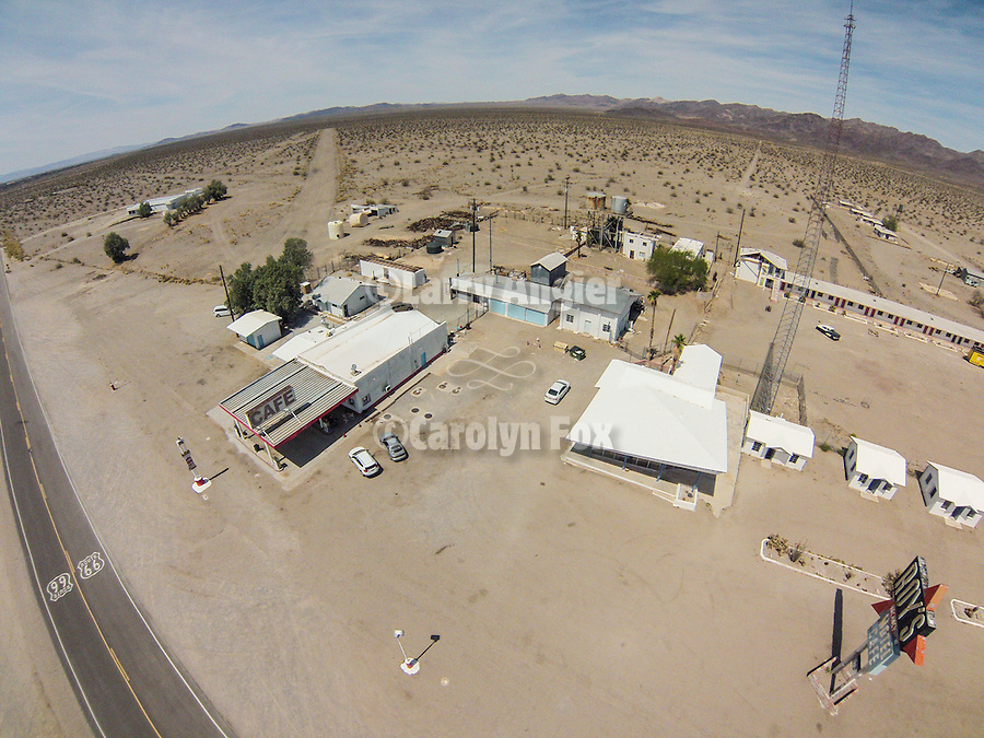 Historic Roy's motel and cafe from the air, along Route 66, Amboy, Calif., photographed from a sUAV/quadcopter.