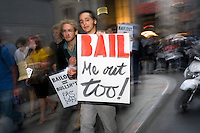 New York, NY - 25 September 2008 - As Washington hammered out a deal, a coalition of activists groups, including Code Pink, True Majority, USAction and United For Peace, and the Central Labor Council, gathered in New York's financial district to protest Wall Street Bail-outs.