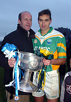 The two greatest midfielders of all time Jack O'Shea and Maurice Fitzgerald pictured after South Kerry won the Kerry County Championship in Killarney o Sunday.<br />