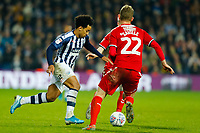 29th December 2019; The Hawthorns, West Bromwich, West Midlands, England; English Championship Football, West Bromwich Albion versus Middlesbrough; Matheus Pereira of West Bromwich Albion looks to run past the Middlesbrough defence - Strictly Editorial Use Only. No use with unauthorized audio, video, data, fixture lists, club/league logos or 'live' services. Online in-match use limited to 120 images, no video emulation. No use in betting, games or single club/league/player publications