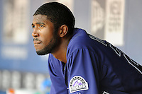 Colorado Rockies center fielder Dexter Fowler #24  during a game against the Atlanta Braves at Turner Field on September 3, 2012 in Atlanta, Georgia. The Braves  defeated the Rockies 6-1. (Tony Farlow/Four Seam Images).