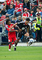 11 September 2010: D.C. United forward Pablo Hernandez #21and Toronto FC midfielder Julian de Guzman #6 in action during a game between DC United and Toronto FC at BMO Field in Toronto..DC United won 1-0..