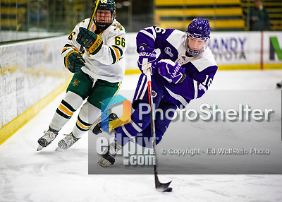 2 February 2020: Holy CrossCrusader Defender Emma Lange, a Sophomore from Cheshire, CT, keeps the puck away from University of Vermont Catamount Forward Lily Humphrey, a Freshman from Huntington Beach, CA, in second period action at Gutterson Fieldhouse in Burlington, Vermont. The Lady Cats rallied in the 3rd period to tie the Crusaders 2-2 in NCAA Women's Hockey East play. Mandatory Credit: Ed Wolfstein Photo *** RAW (NEF) Image File Available ***