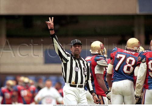 GEORGE COLEMAN (REFEREE), London Monarchs 10 v Amsterdam Admirals 17, 9504. Photo: Steve Bardens/Action Plus....1995.sports officials.umpires.american football.umpires.referees.judge judges.official.gridiron