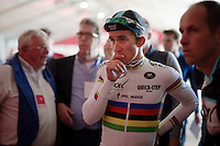 race winner/world champion Michal Kwiatkowski (POL/Ettix-Quickstep) checks the video playback of his victory on the press-centre monitors<br /> <br /> 50th Amstel Gold Race 2015