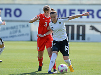 20180307 - LARNACA , CYPRUS : Austrian Stefanie Enzinger (r) pictured protecting the ball for Welsh Gemma Evans (left) during a women's soccer game between Austria and Wales , on wednesday 7 March 2018 at the AEK Arena in Larnaca , Cyprus . This is the final game for the 7th and 8th  place  for Austria and Wales on the Cyprus Womens Cup , a prestigious women soccer tournament as a preparation on the World Cup 2019 qualification duels. PHOTO SPORTPIX.BE | DAVID CATRY