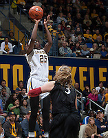 Gennifer Brandon of California shoots the ball during the game against Stanford at Haas Pavilion in Berkeley, California on February 2nd 2014.   Stanford defeated California, 79-64.