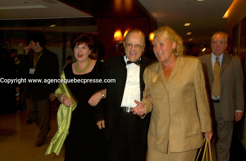 August 23rd  2002, Montreal, Quebec, Canada<br /> <br /> Diane Lemieux, Quebec Minister of Cutural Affairs (L),<br /> Serge Losique , Founder and President, Montreal Word Film Festival (M) and<br /> Pauline Marois ,Quebec  Vice-Premier and Finances Minister (R)<br /> on the opening night of the 26th Montreal World Film Festival, August 23rd  2002<br /> <br /> <br /> Mandatory Credit: Photo by Pierre Roussel- Images Distribution. (&copy;) Copyright 2002 by Pierre Roussel <br /> <br /> NOTE : <br />  Nikon D-1 jpeg opened with Qimage icc profile, saved in Adobe 1998 RGB<br /> .Uncompressed  Uncropped  Original  size  file availble on request.