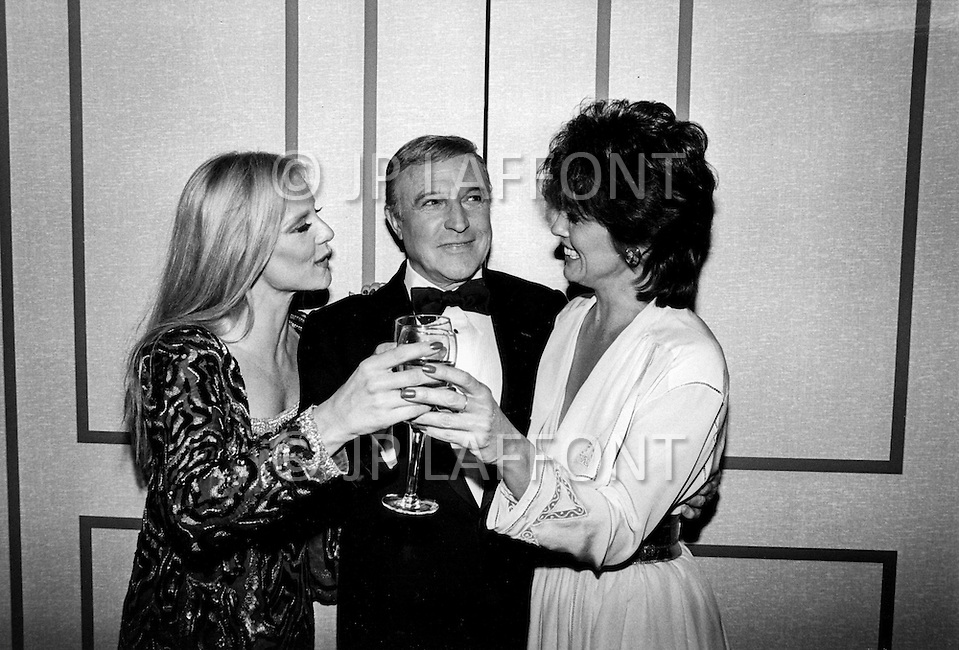 Las Vegas, Nevada, USA, December, 1982 - French Singer Sylvie Vartan at a party with Gene Kelly in between performances at the MGM Hotel in Las Vegas.
