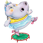 Illustration of hippopotamus standing on trampoline over white background