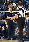Nevada head coach Eric Musselman talks with a referees in the second half of an NCAA college basketball game against Utah State in Reno, Nev., Wednesday, Jan. 2, 2019. (AP Photo/Tom R. Smedes)