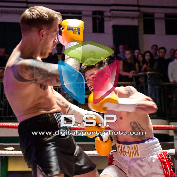 Dan-Dan Keenan VS Jack Green - Welterweight Contest. Photo by: Stephen Smith.<br /> <br /> Goodwin Boxing: Paddy's Day Punch Up - Saturday 19th March 2016. York Hall, Bethnal Green, London, United Kingdom.