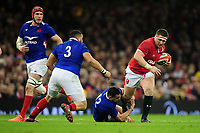 Wyn Jones of Wales is tackled by Arthur Vincent of France during the Guinness Six Nations Championship Round 3 match between Wales and France at the Principality Stadium in Cardiff, Wales, UK. Saturday 22 February 2020