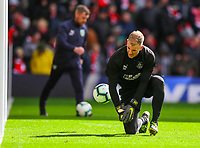 Burnley's Joe Hart warms up before the game<br /> <br /> Photographer Alex Dodd/CameraSport<br /> <br /> The Premier League - Liverpool v Burnley - Sunday 10th March 2019 - Anfield - Liverpool<br /> <br /> World Copyright © 2019 CameraSport. All rights reserved. 43 Linden Ave. Countesthorpe. Leicester. England. LE8 5PG - Tel: +44 (0) 116 277 4147 - admin@camerasport.com - www.camerasport.com
