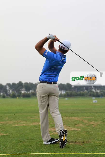 Ricardo Santos (POR) warming up on the driving range during Round 1 of the Open de Espana  in Club de Golf el Prat, Barcelona on Thursday 14th May 2015.<br /> Picture:  Thos Caffrey / www.golffile.ie