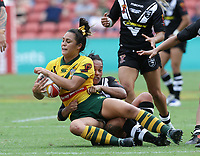 Australia's Corban McGregor is tackled during the women's Rugby League World Cup final between Australia and New Zealand, Suncorp Stadium, Brisbane, Australia, 2 December 2017. Copyright Image: Tertius Pickard / www.photosport.nz MANDATORY CREDIT/BYLINE : Tertius Pickard/SWpix.com/PhotosportNZ