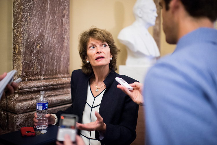 UNITED STATES - JUNE 24: Sen. Lisa Murkowski, R-Alaska, speaks with reporters outside of the Senate chamber on Tuesday, June 24, 2014. (Photo By Bill Clark/CQ Roll Call)