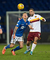 12th February 2020; McDairmid Park, Perth, Perth and Kinross, Scotland; Scottish Premiership Football, St Johnstone versus Motherwell; Callum Hendry of St Johnstone challenges for the ball with Peter Hartley of Motherwell