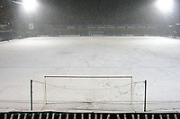 General view of the pitch and away stand at Wycombe Wanderers FC covered in snow after the match was abandoned with only twenty two minutes played during Wycombe Wanderers vs Macclesfield Town, Coca Cola League Division Two Football at Adams Park on 28th October 2008