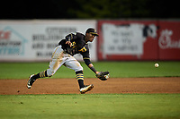 Bristol Pirates second baseman Francisco Mepris (54) charges in to field a ground ball during a game against the Bluefield Blue Jays on July 26, 2018 at Bowen Field in Bluefield, Virginia.  Bristol defeated Bluefield 7-6.  (Mike Janes/Four Seam Images)