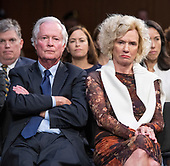 Ed Kavanaugh, left, and Martha Kavanaugh, right, parents of Judge Brett Kavanaugh watch as he testifies before the United States Senate Judiciary Committee on his nomination as Associate Justice of the US Supreme Court to replace the retiring Justice Anthony Kennedy on Capitol Hill in Washington, DC on Thursday, September 6, 2018.<br /> Credit: Ron Sachs / CNP<br /> (RESTRICTION: NO New York or New Jersey Newspapers or newspapers within a 75 mile radius of New York City)