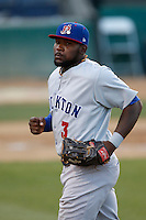 Rashun Dixon #3 of the Stockton Ports during a game against the Rancho Cucamonga Quakes at LoanMart Field on June 13, 2013 in Rancho Cucamonga, California. Stockton defeated Rancho Cucamonga, 8-4. (Larry Goren/Four Seam Images)