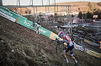 Wout Van Aert (BEL/Crelan-Vastgoedservice) & Mathieu Van der Poel (NED/Beobank-Corendon) in a direct duel for 1st place up the steep Wall<br /> <br /> 2016 CX Superprestige Spa-Francorchamps (BEL)