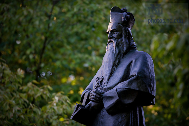 Oct. 8, 2013; Statue of Fr. Sorin on Main Quad. Photo by Barbara Johnston/University of Notre Dame