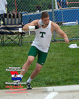 Timberland Senior Josh McDonald spins in the ring ready to launch the shot on his way to victory in the shot put at the Class 4 Sectional 2 meet. McDonald's three of four throws were fair and all three measured more than 59 feet, while his best of 59-8 was a  personal best and gave him the win by four inches over Khalen Saunders of Parkway Central.