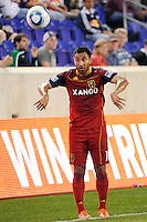 Arturo Alvarez (10) of Real Salt Lake. Real Salt Lake defeated the New York Red Bulls 3-1 during a Major League Soccer (MLS) match at Red Bull Arena in Harrison, NJ, on September 21, 2011.