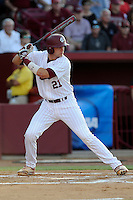 Catcher Grayson Greiner (21) of the South Carolina Gamecocks bats in an NCAA Division I Baseball Regional Tournament game against the Maryland Terrapins on Sunday, June 1, 2014, at Carolina Stadium in Columbia, South Carolina. Maryland won, 10-1, to win the tournament. (Tom Priddy/Four Seam Images)
