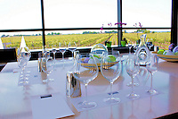A wine tasting room is all set for guests at a Niagara Peninsula vineyard in Ontario Canada