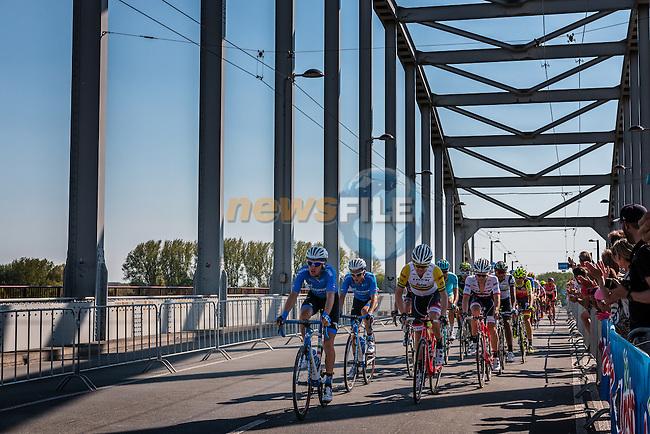 Grupetto with BOBRIDGE Jack from Australia of Trek - Segafredo (USA) at the 2nd lap (1000M) from the finish line on the John Frost Bridge 'A Bridge Too Far', stage 3 from Nijmegen to Arnhem running 190 km of the 99th Giro d'Italia (UCI WorldTour), The Netherlands, 8 May 2016. Photo by Pim Nijland / PelotonPhotos.com | All photos usage must carry mandatory copyright credit (Peloton Photos | Pim Nijland)