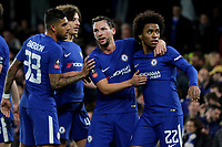 Chelsea players congratulate Willian after scoring their third goal during Chelsea vs Hull City, Emirates FA Cup Football at Stamford Bridge on 16th February 2018