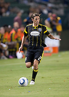 Columbus Crew defender Frankie Hejduk (2) moves the ball up the field during the first half of the game between LA Galaxy and the Columbus Crew at the Home Depot Center in Carson, CA, on September 11, 2010. LA Galaxy 3, Columbus Crew 1