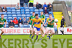 Kerry's Conor Keane gets in front of Clare's Darren Nagle  at Austin Stack park, Tralee on Saturday.
